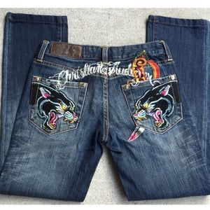 225$ CHRISTIAN AUDIGIER EMBROIDERED JEANS SIZE 27.